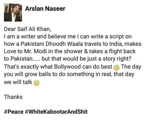 Sarcastic letter to Saif Ali Khan