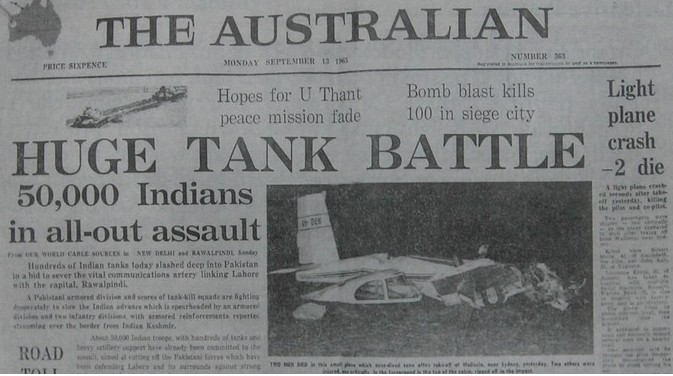 1965-Indo-Pak-War-Memorabilia-The-Australian-newspaper13-September-1965-edition-headline-about-Huge-Tank-Battle-between-Pakistan-and-India-Photos-and-Mementos-of-1965-War