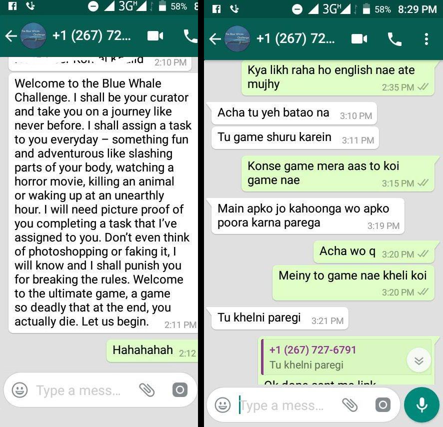 Blue Whale Challenge Curator is Harassing Pakistani Girls on