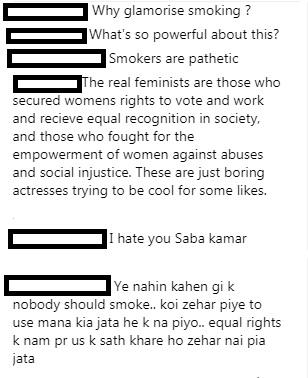 saba qamar smoking