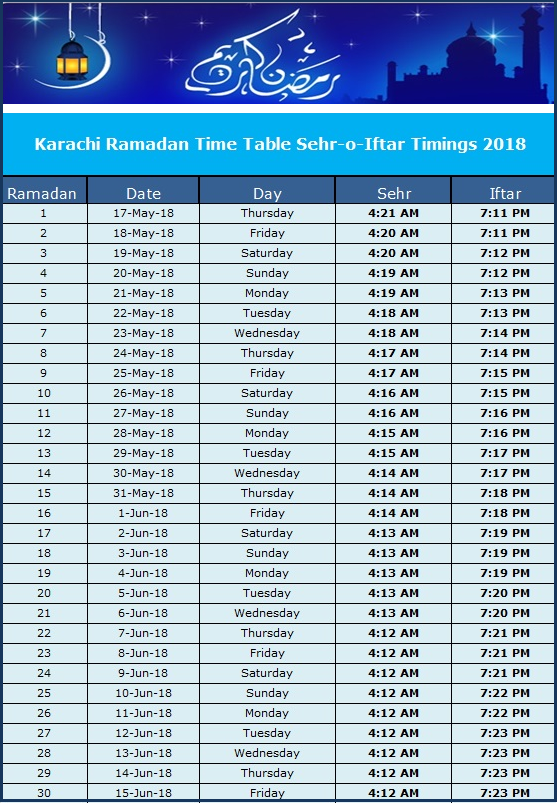 Ramadan Calendar 2018 Pakistan: Sehr o Iftar Timetable   Brandsynario