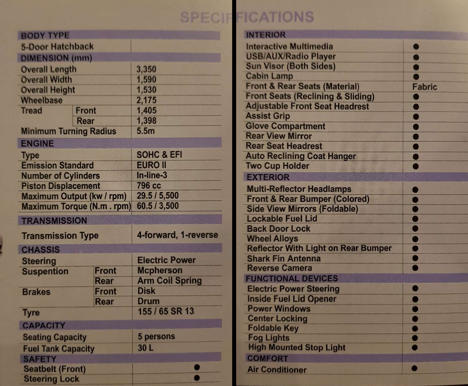 United Auto Bravo Specifications