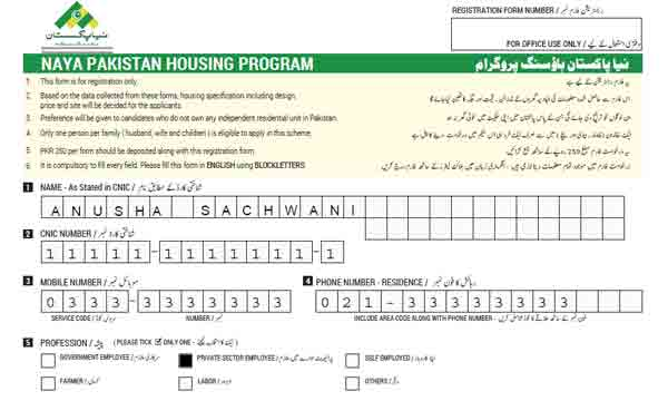 Naya Pakistan Housing Programmer Form Example