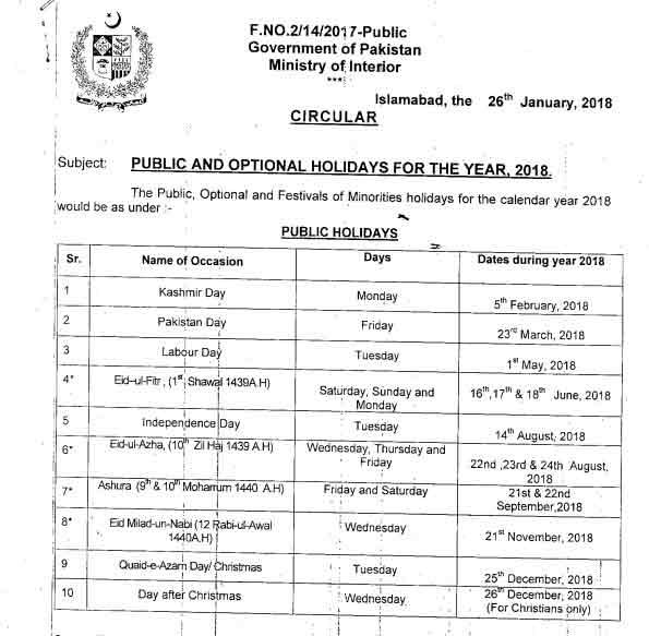 Quaid-e-Azam Day 25th December 2018 to be a Public Holiday! - Brandsynario