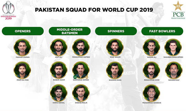 world cup 2019 pakistan squad