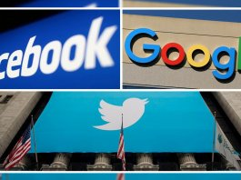 google, facebook and twitter