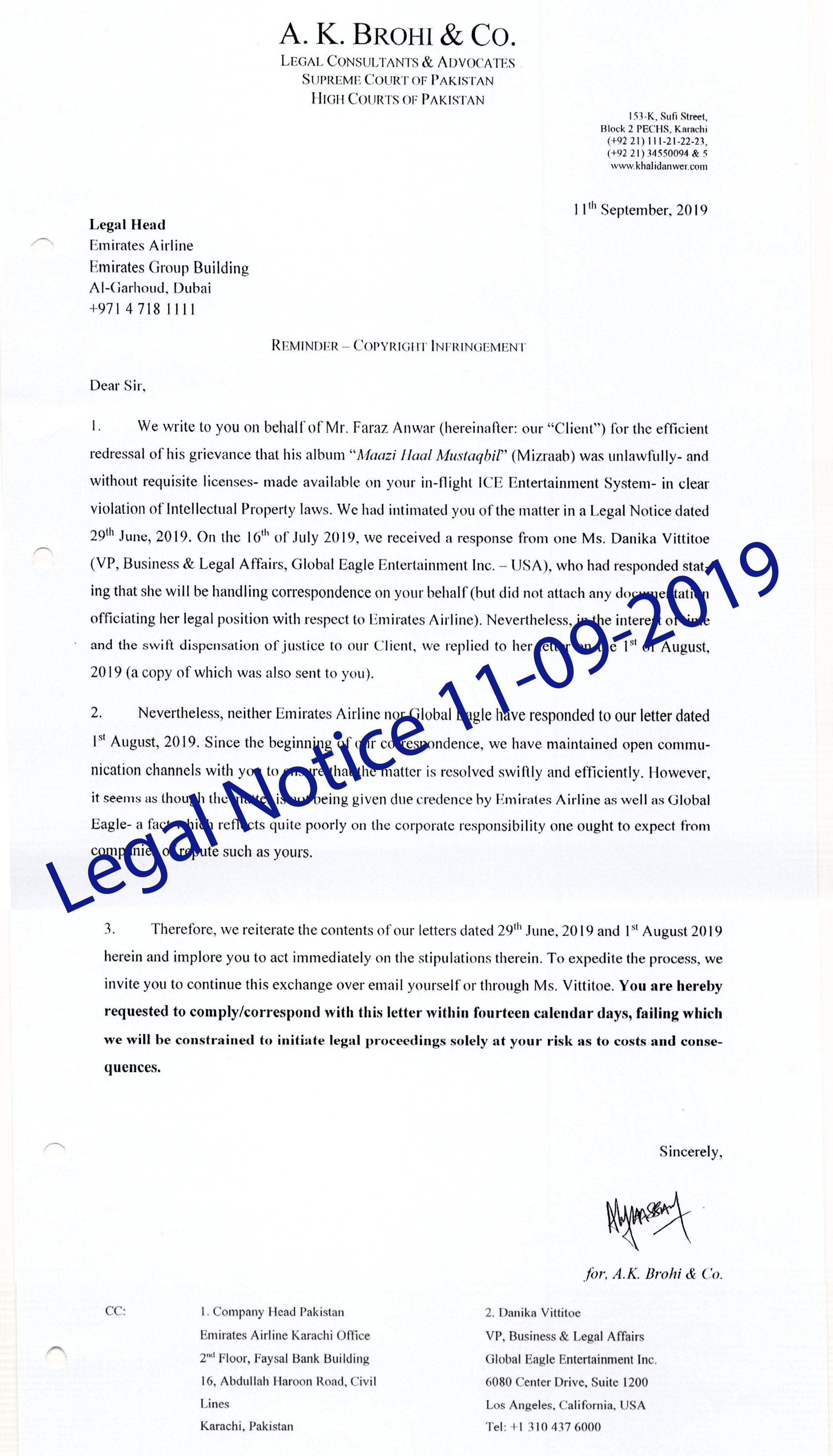 legal notice faraz anwer