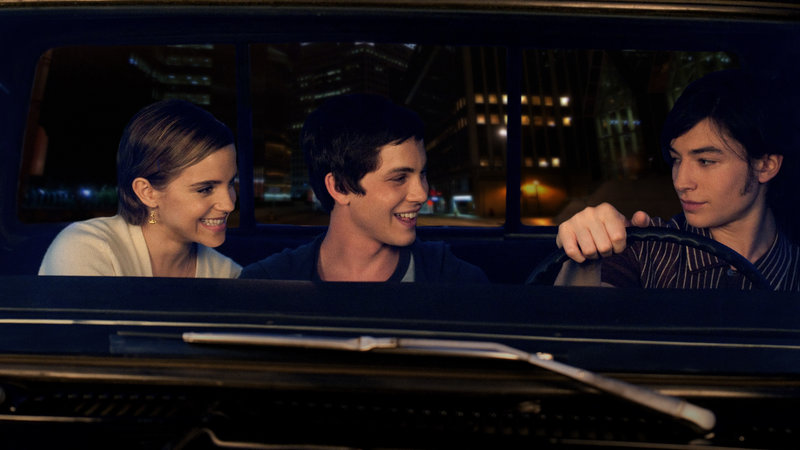 Charlie shown with his friends in 'The Perks of Being A Wallflower'