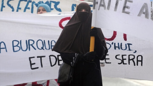 A woman protesting against the burqa ban in France
