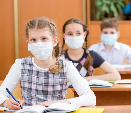 Students attending school with masks