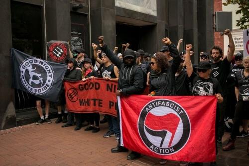 Antifa protestors