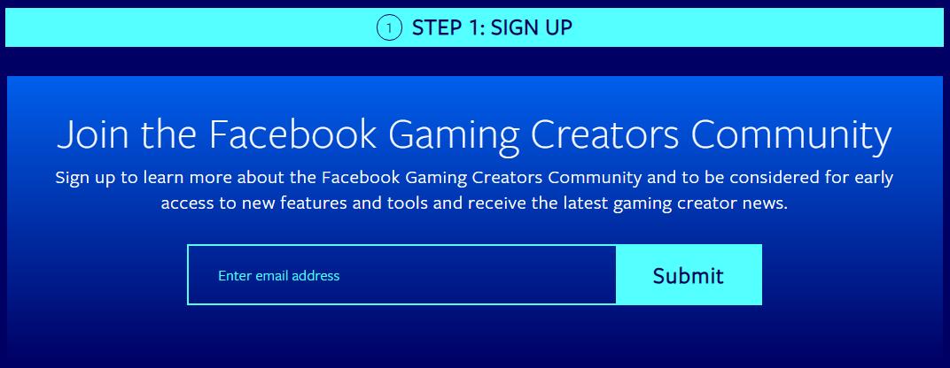 Facebook Gaming Community Signup