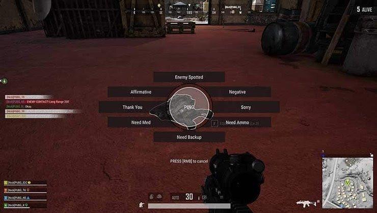 Gaming scene PUBG