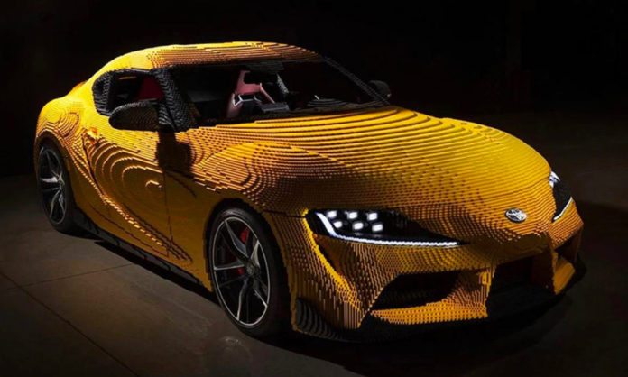 Toyota Supra and its lego life size model