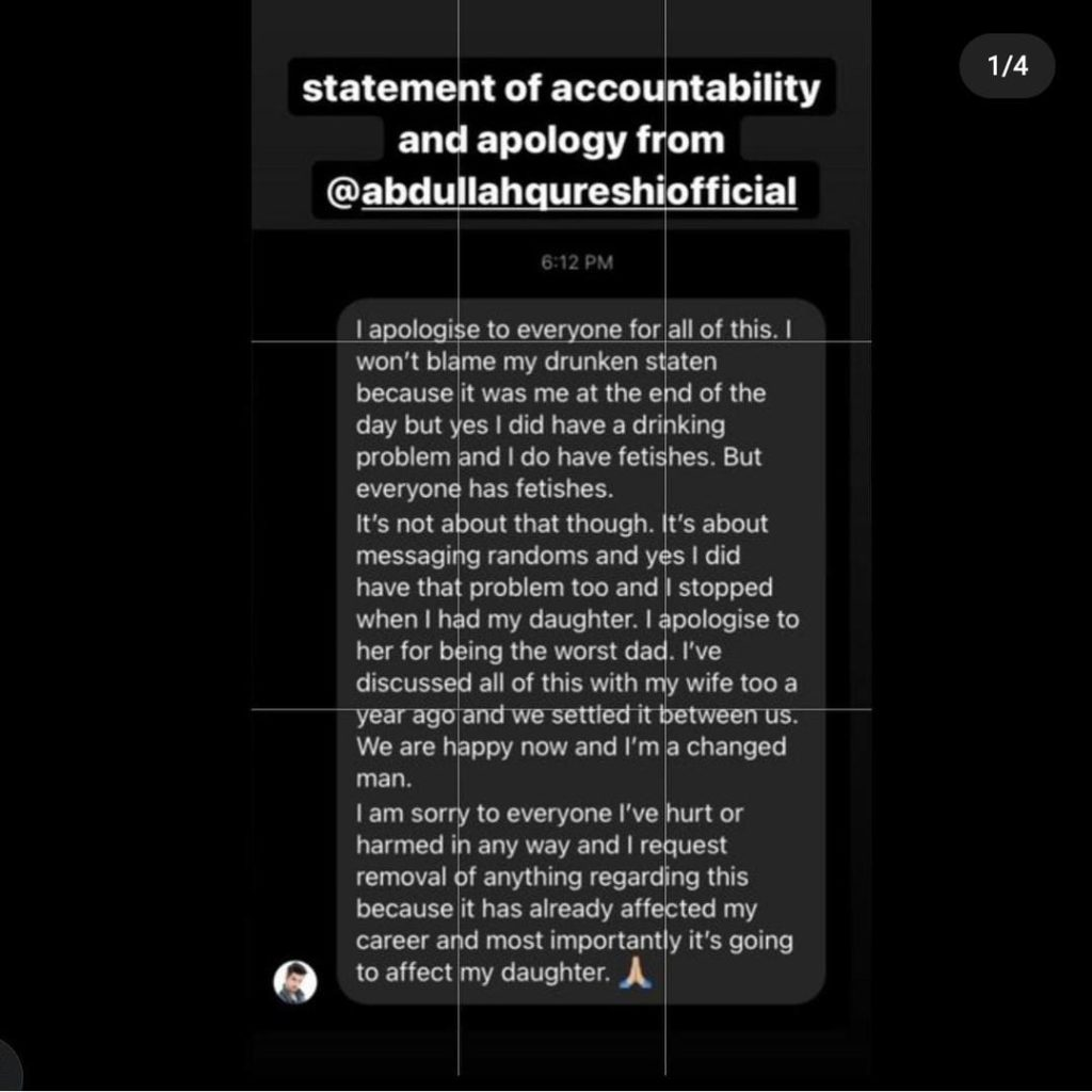 Abdullah Qureshi Apologizes Over Allegations Of Harassment