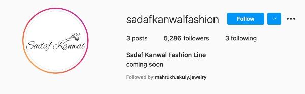 sadaf kanwal fashion brand namesake