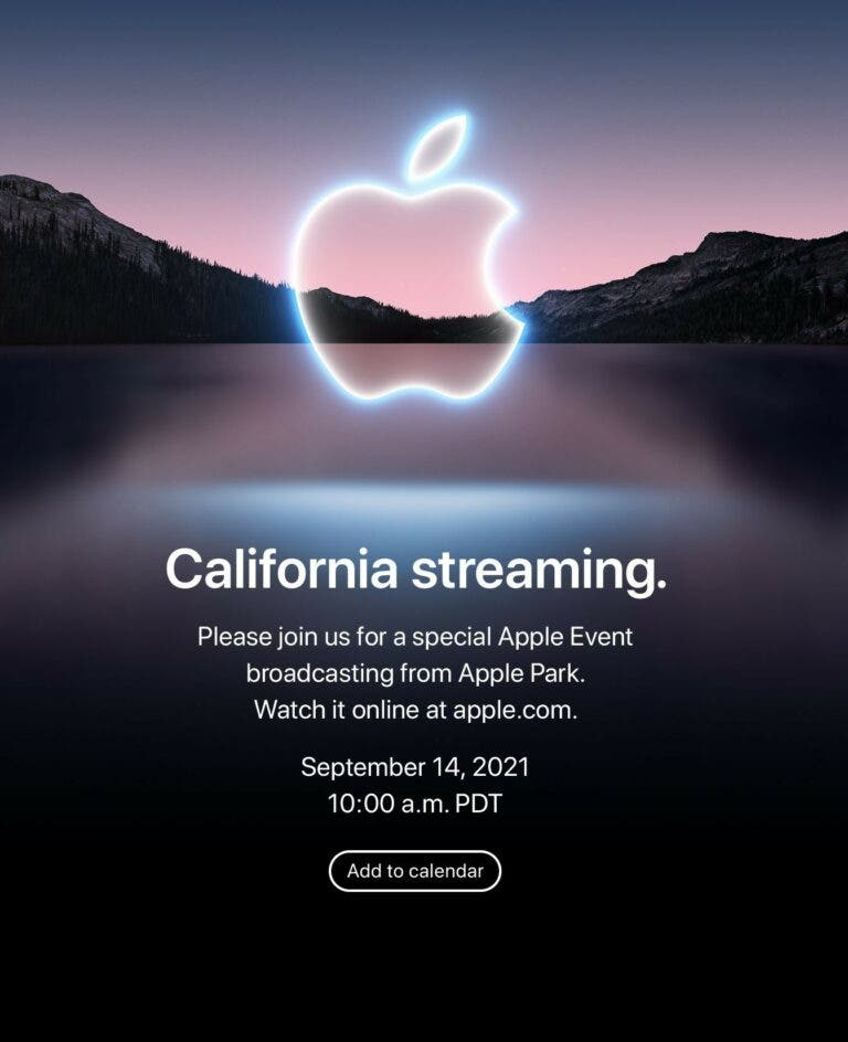 Apple upcoming launch event for iPhone 13