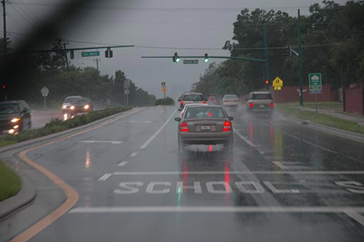 driving in weather with a distance
