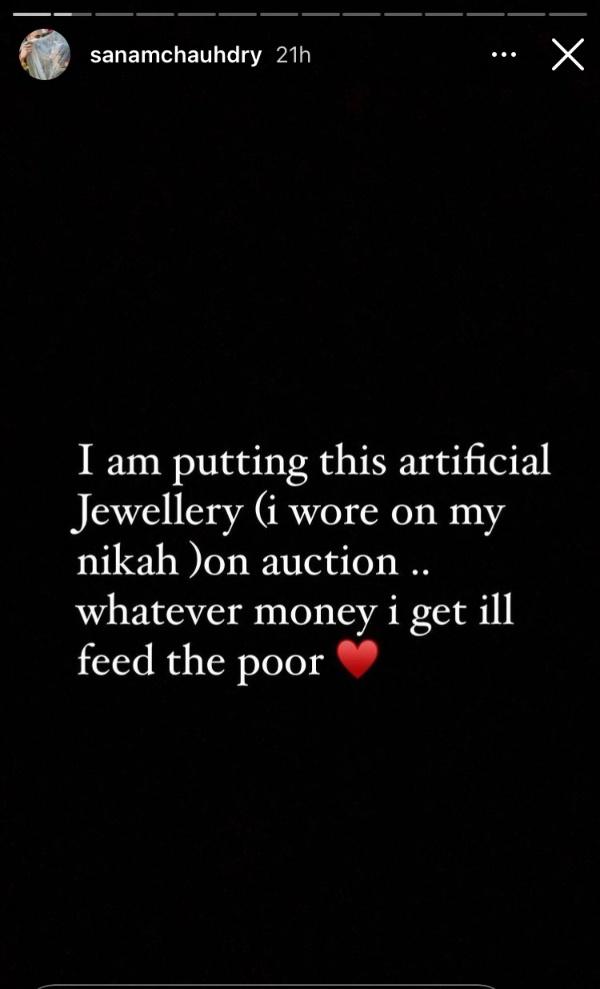 sanam chaudhry auctioning nikkah jewellery