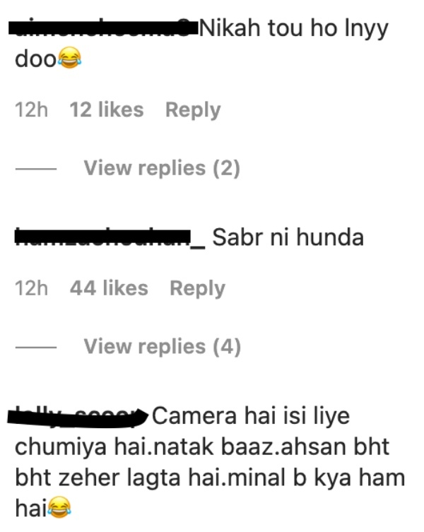 pakistanis lose cool ahsan mohsin kissing minal