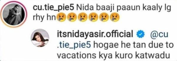 nida yasir trolls commenting feet