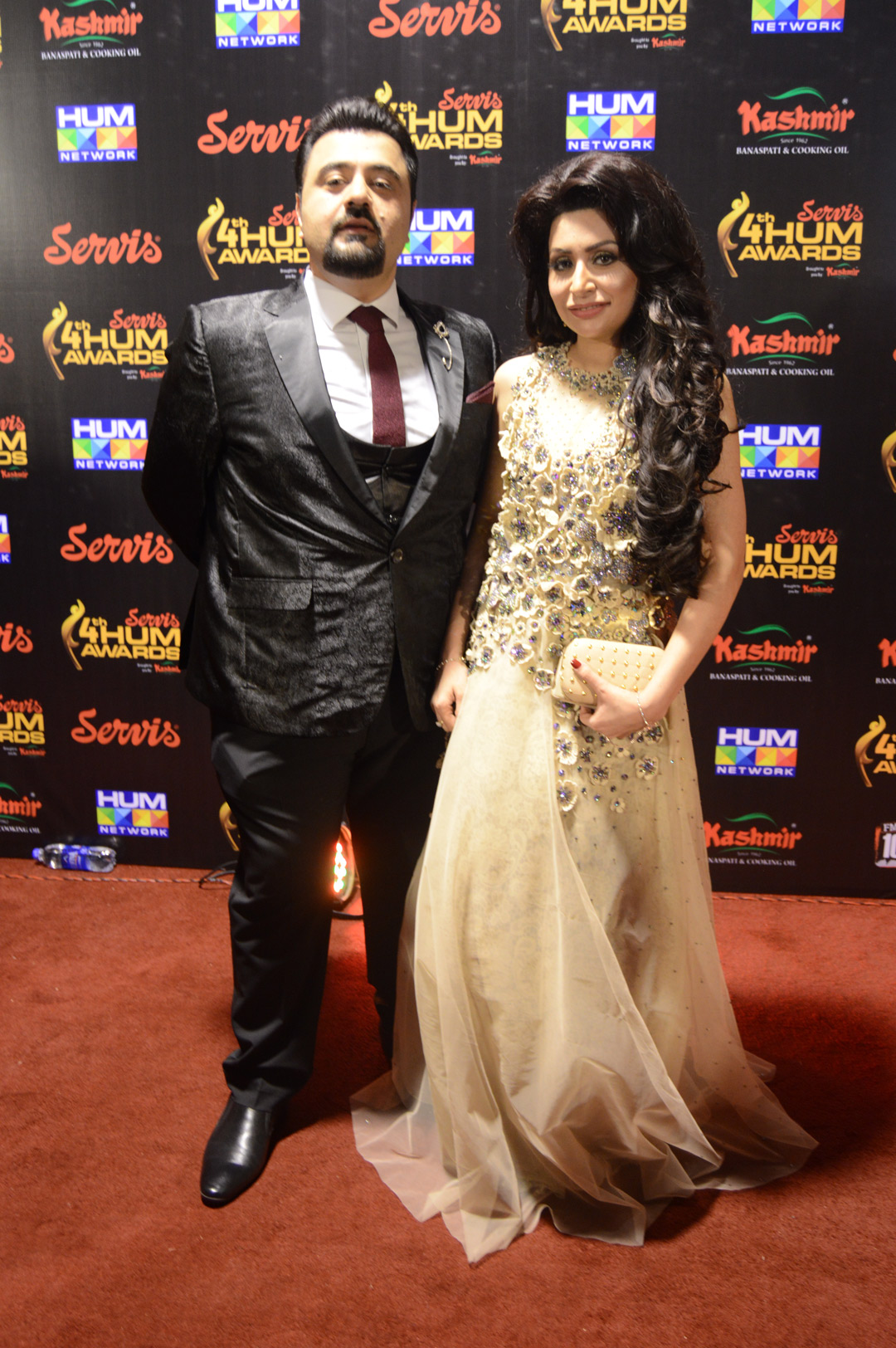 Ahmed Ali Butt with his wife Fatima HUM Awards Red Carpet