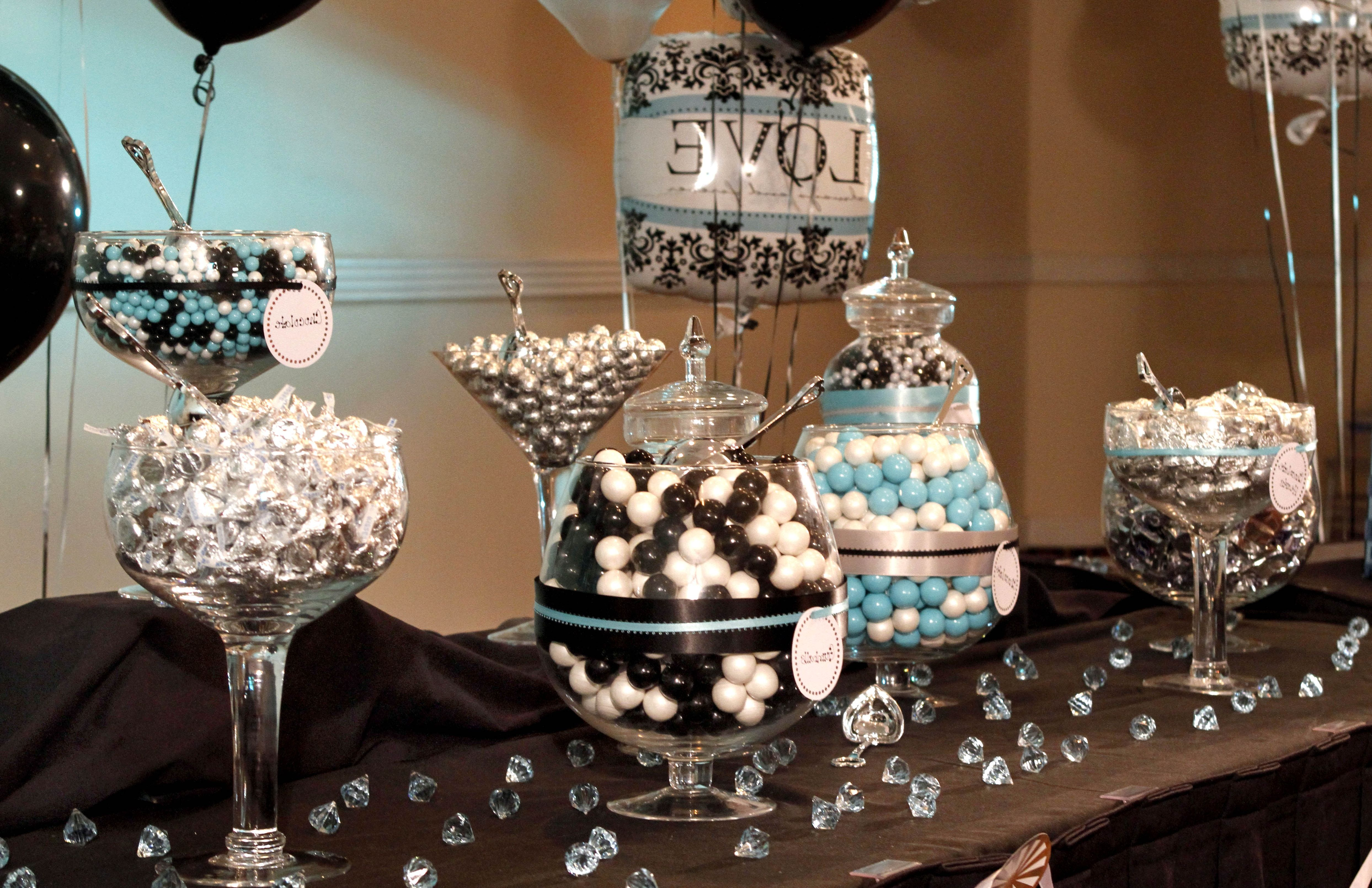 Black and white themed bridal shower