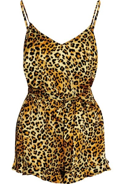 CHARLOTTE OLYMPIA + Agent Provocateur leopard-print silk-satin playsuit