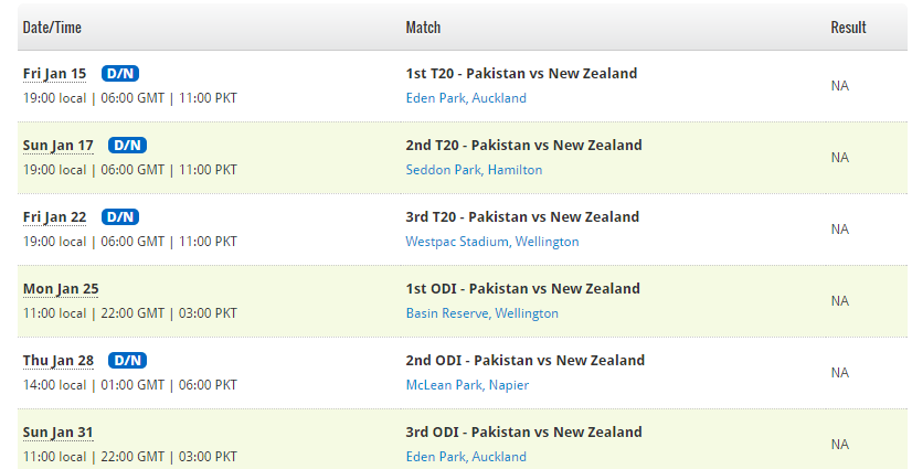 fixtures pakistan vs newzealand