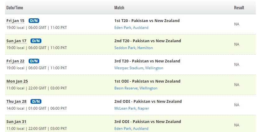 fixtures pakistan vs newzealand