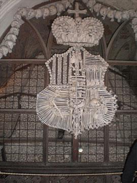 The coat of arms of Schwarzenberg family that is also made of human bones
