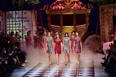 Dolce and Gabbana chose a Cinderella background for their show on Sunday in Milan
