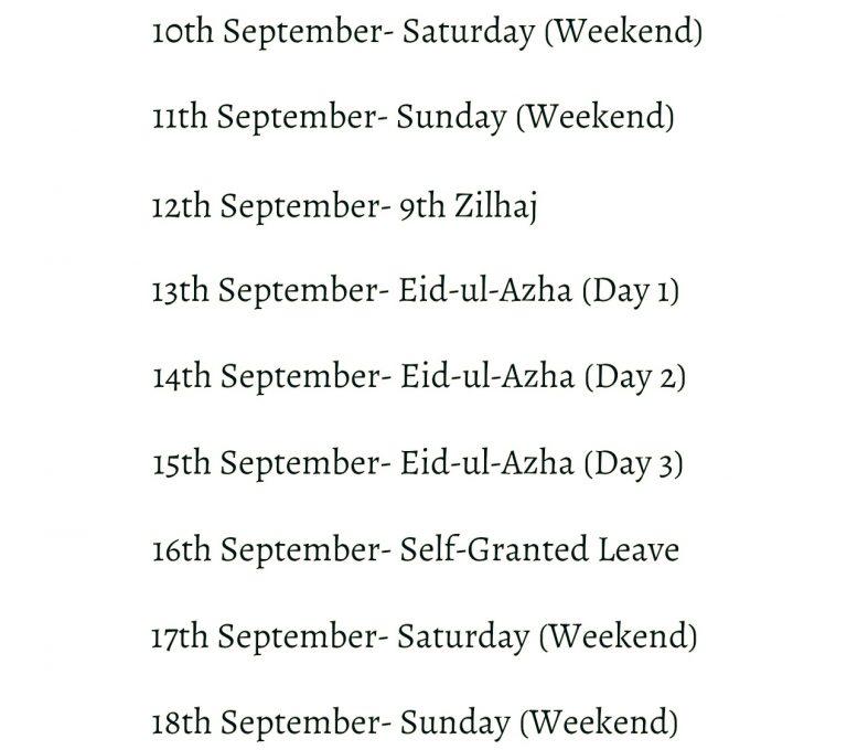 EidUlAzha Holidays 2016