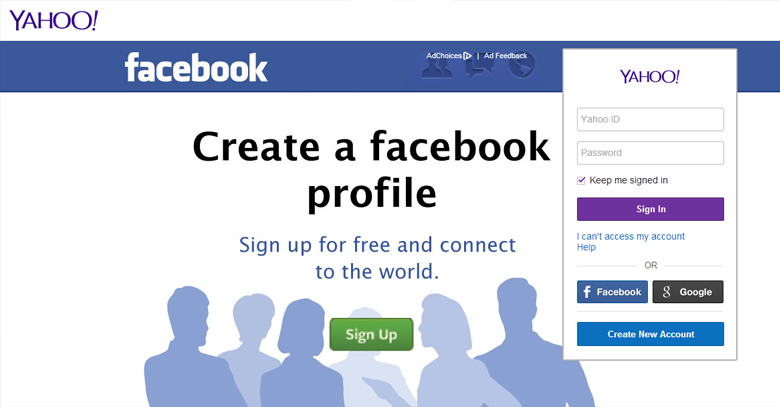 Facebook Advertising on Yahoo Mail Login Page - Brandsynario