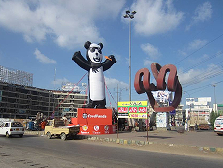 Food Panda Inflatable at Schon Circle Triangle Karachi Pakistan