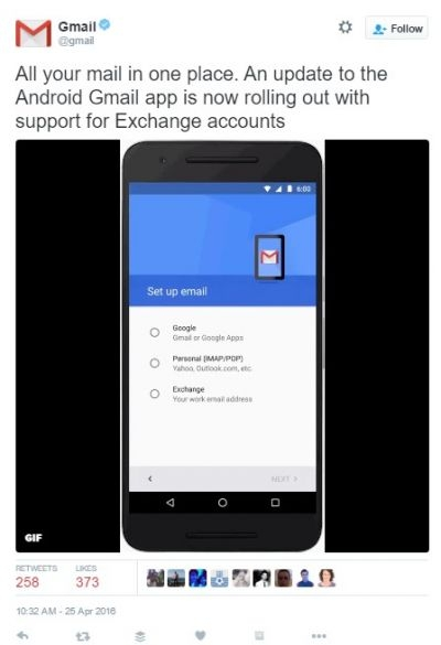 Gmail supports Exchange for Android