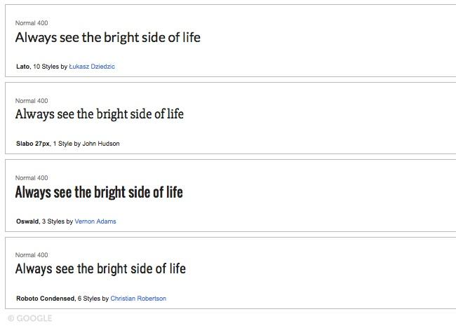 Google Fonts.Brandsynario