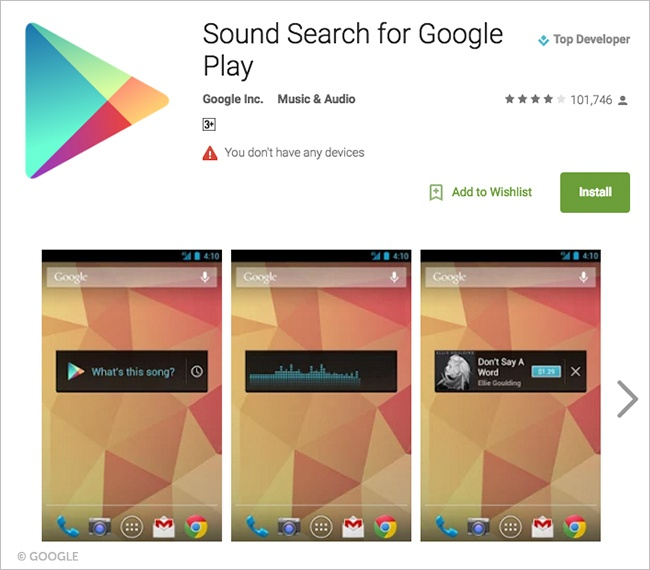 Google Sound Search.Brandsynario