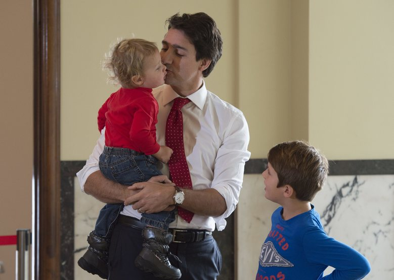 Justin Trudeau with his sons
