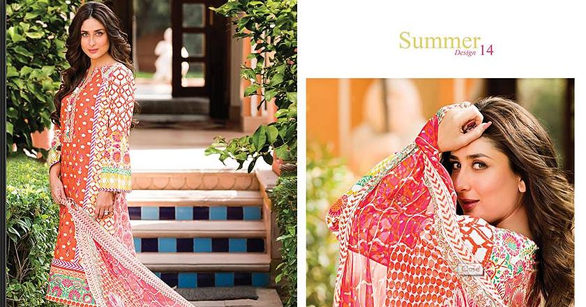 Kareena Kapoor Endorses Faraz Manans Crescent Lawn Collection 20141