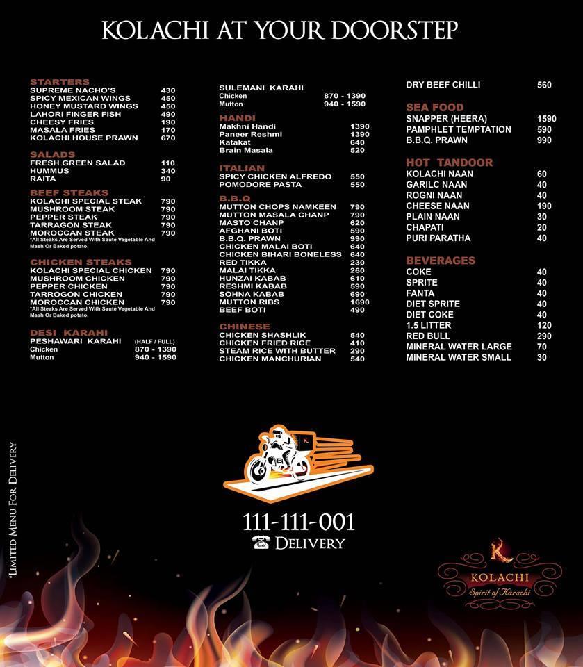 Kolachi menu