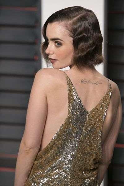 Lily Collins at the 2016 Vanity Fair Oscar party