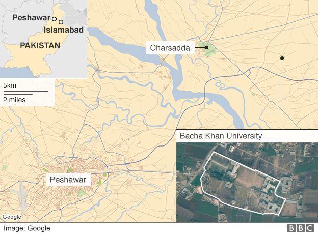 Location of the Bacha Khan university