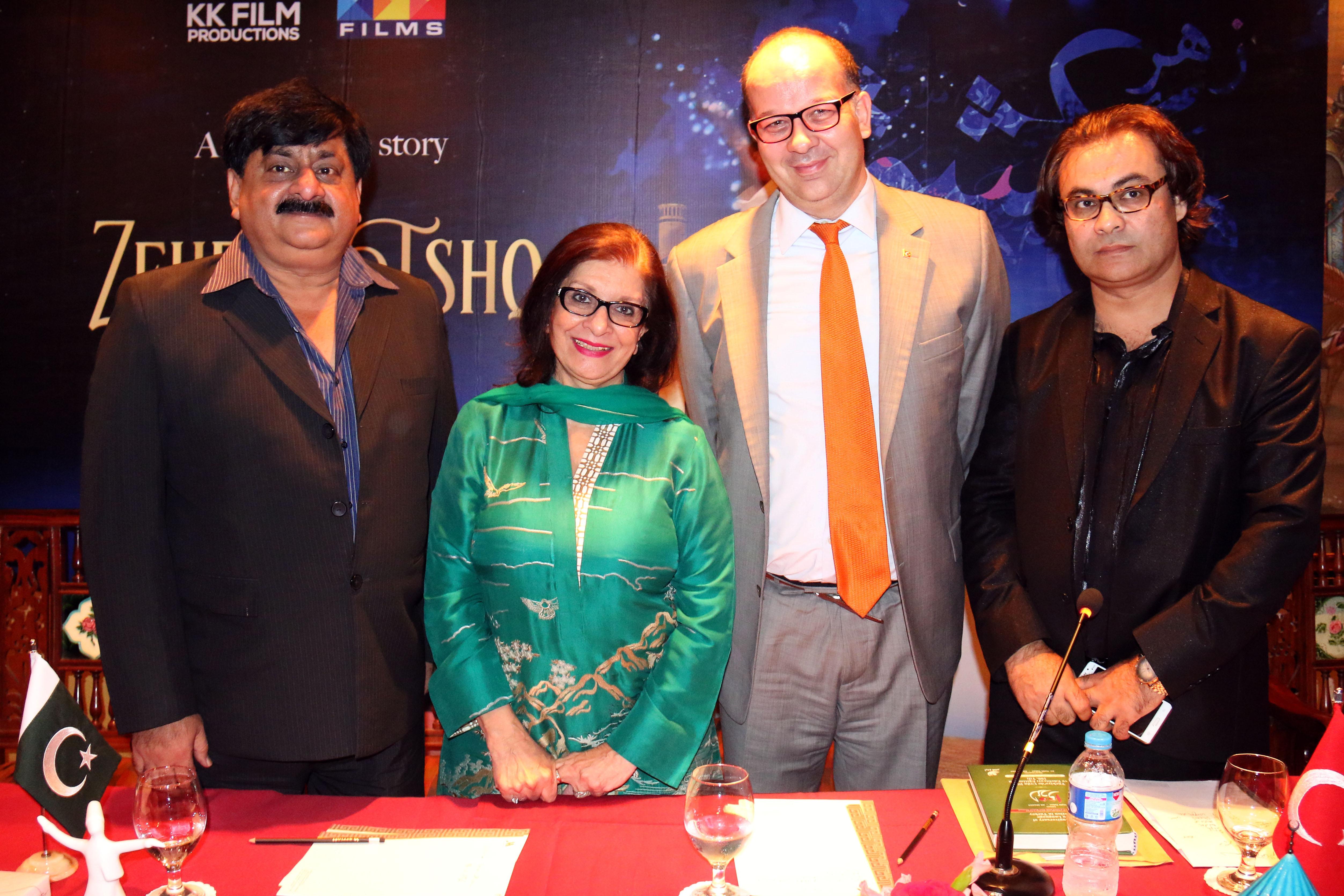 M. Asif (writer), Sultana Siddiqui, Murat M. Onart (Turkish Consul) and Khalid Khan (Director)