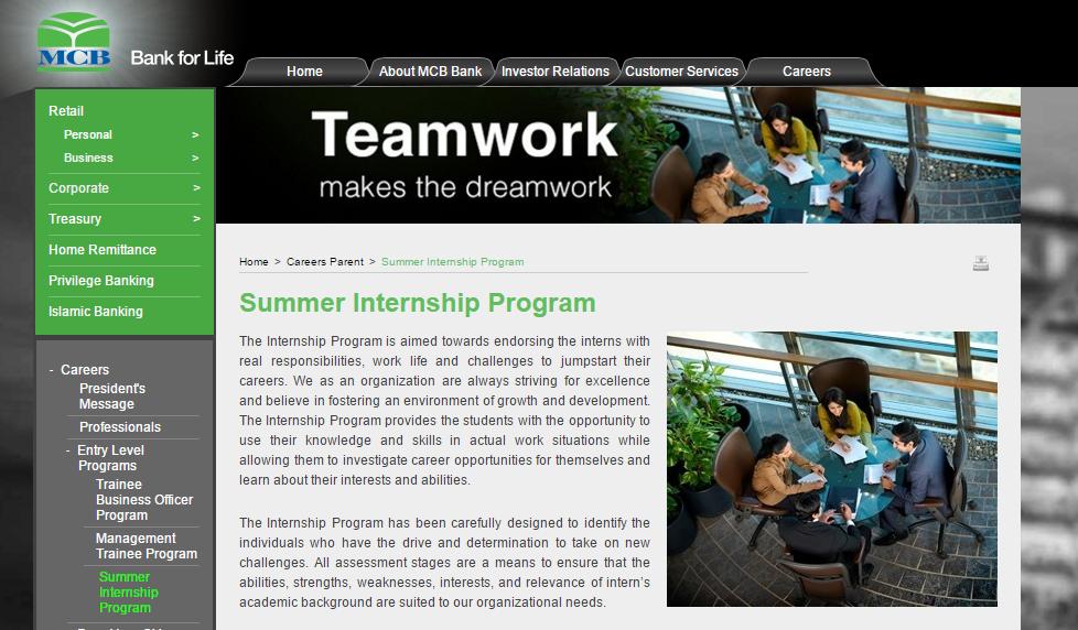MCB summer internship programmer