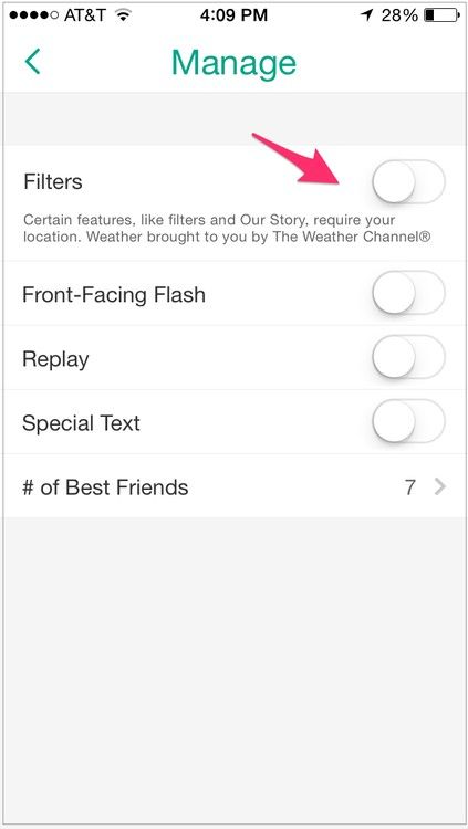 Manage Snapchat settings