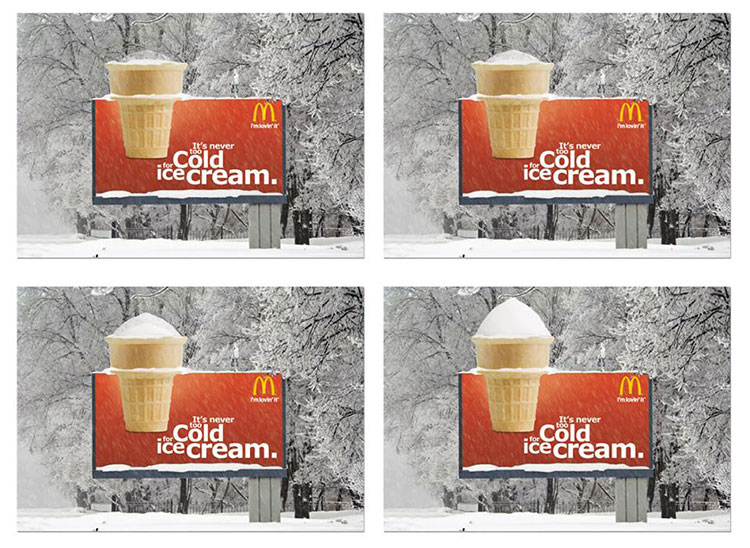 McDonald Snow Billboard in Sweden