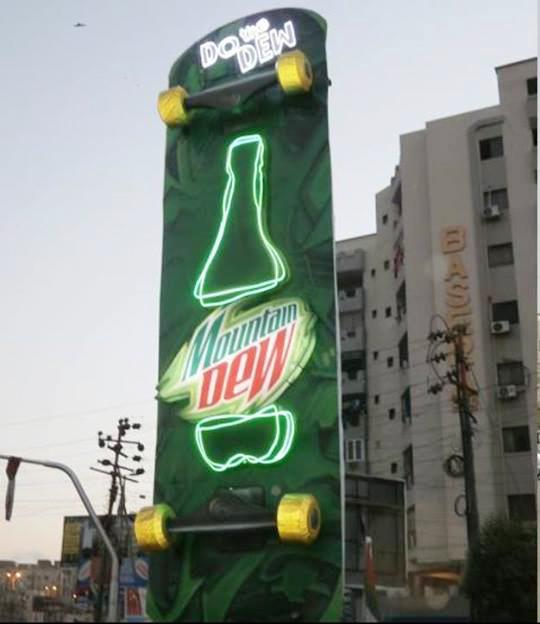 Mountain Dew Skate Board OOH in Karachi & Lahore Pakistan