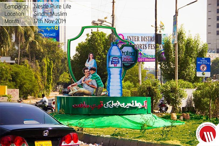 Nestle Pure Life OOH Execution at Sindhi Muslim Karachi Pakistan