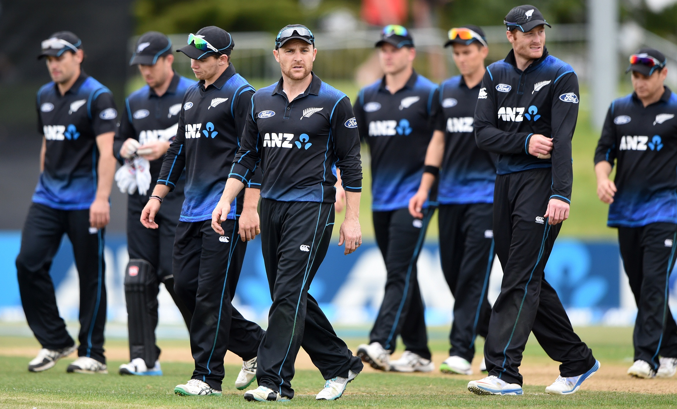 Brendon McCullum leads the players from the field after a comprehensive defeat in the first ODI. ANZ One Day International Cricket Series between New Zealand Back Caps and South Africa, Mount Maunganui, New Zealand. Tuesday 21 October 2014. Photo: Andrew Cornaga/www.Photosport.co.nz